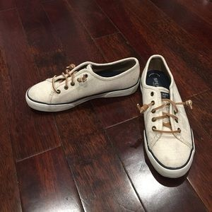 Sperry seacoast beige canvas slip on shoes